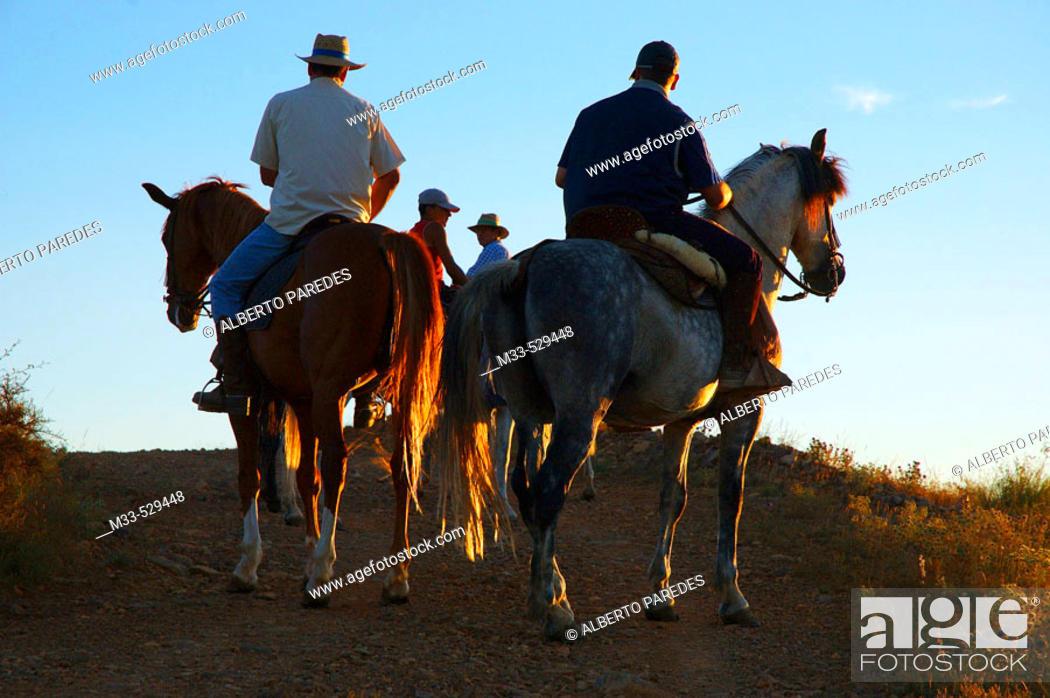 Stock Photo: Horsemen. Manchones. Daroca. Zaragoza province. Aragon,  Spain.