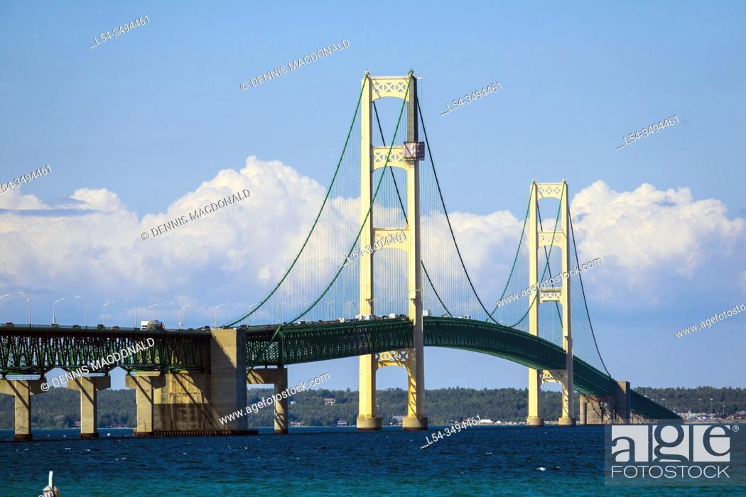 Stock Photo: Mackinaw Bridge connecting michigan upper and lower peninsula between Mackinaw City and St. Ignace Michigan.