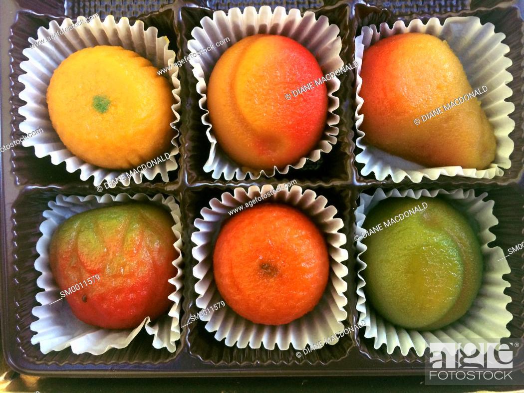Stock Photo: Marzipan fruit candies.