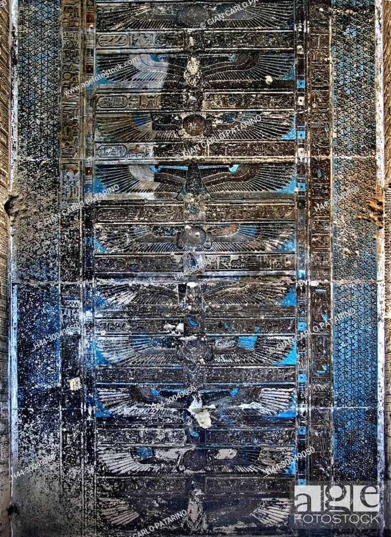 Stock Photo: Egypt, Dendera, Ptolemaic temple of the goddess Hathor.View of ceiling and before cleaning.