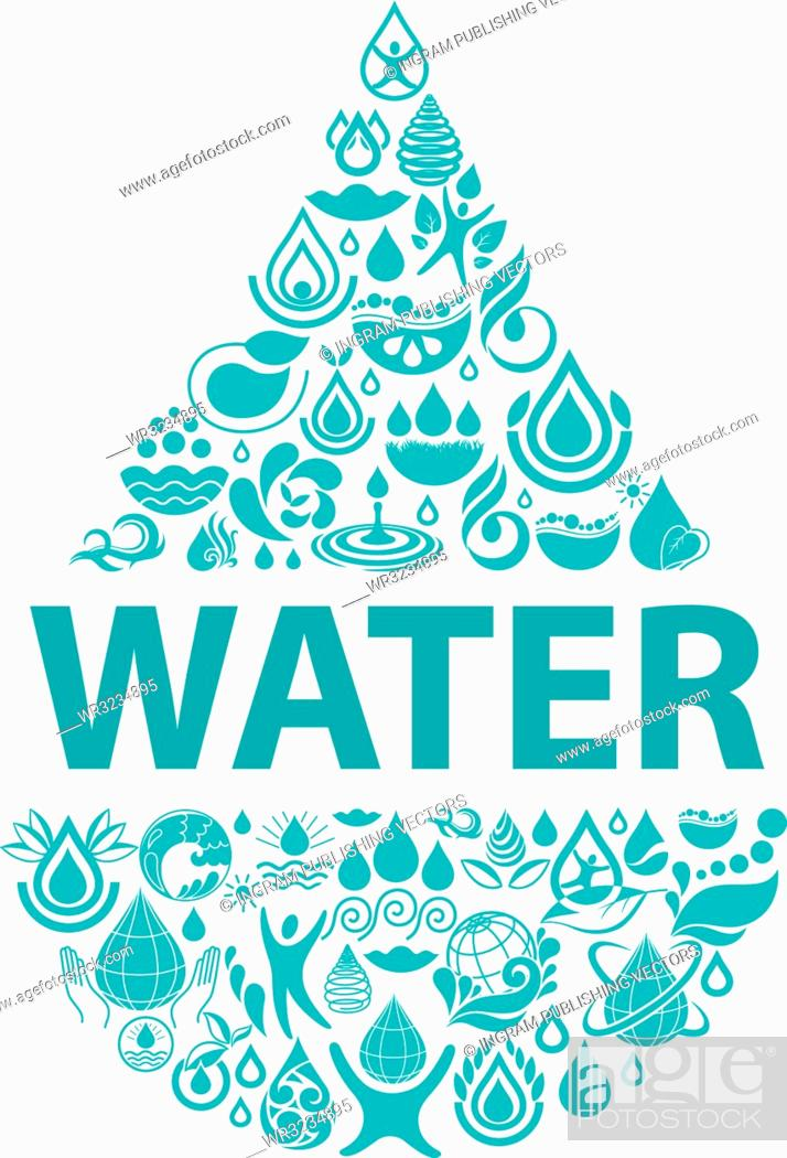 Vector: Conceptual background of pure water. Set of water icons and design elements.