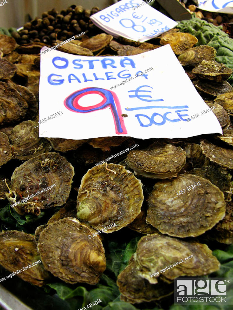 Stock Photo: Galician oysters. La Boquería market. Barcelona. Spain.