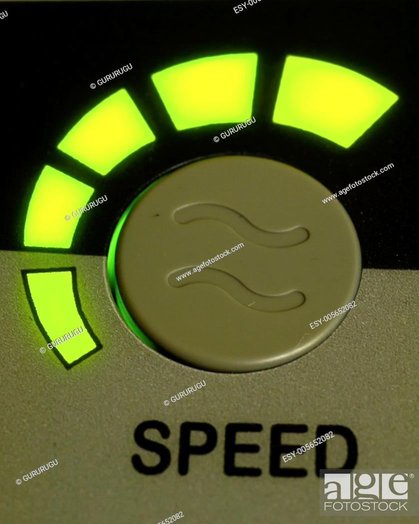 Stock Photo: Green light speed button as background.