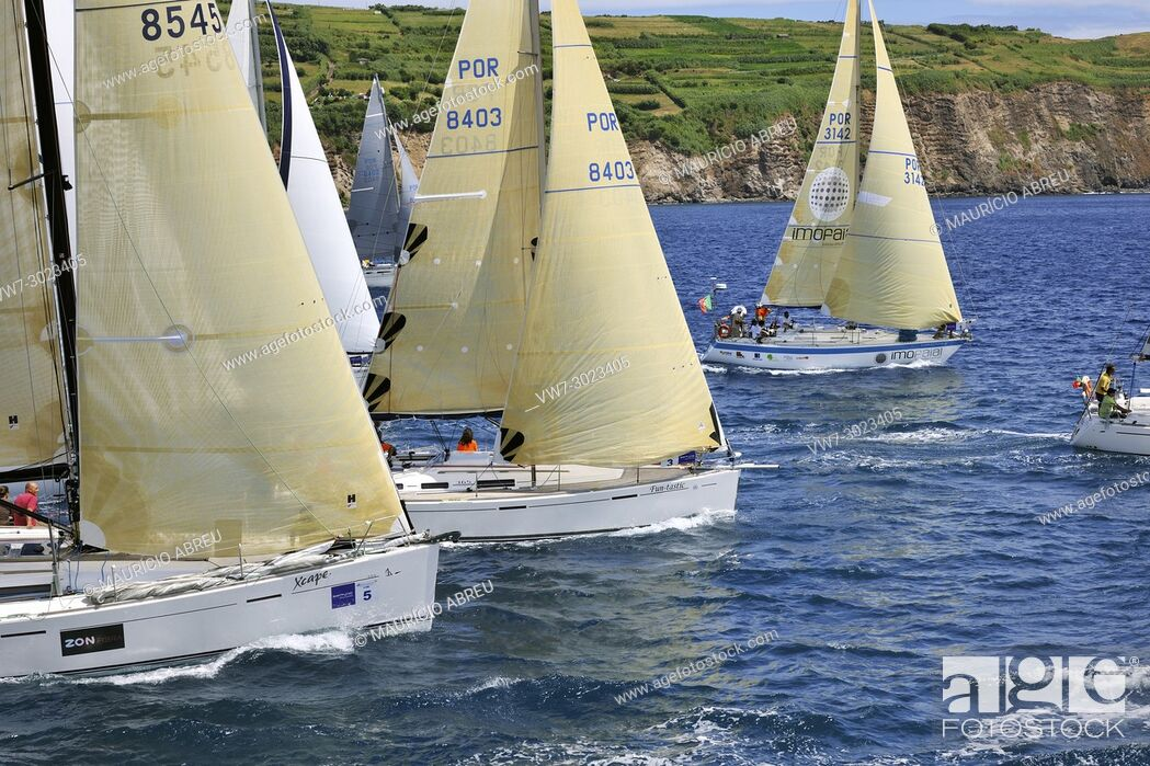 Stock Photo: Regattas in the sea at the city of Horta, during the Sea Week festival. Faial, Azores islands, Portugal.