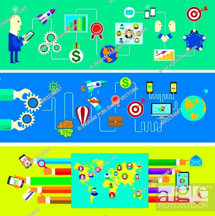 Vector: Set of banners. Business start. Social network. Education and Communication.