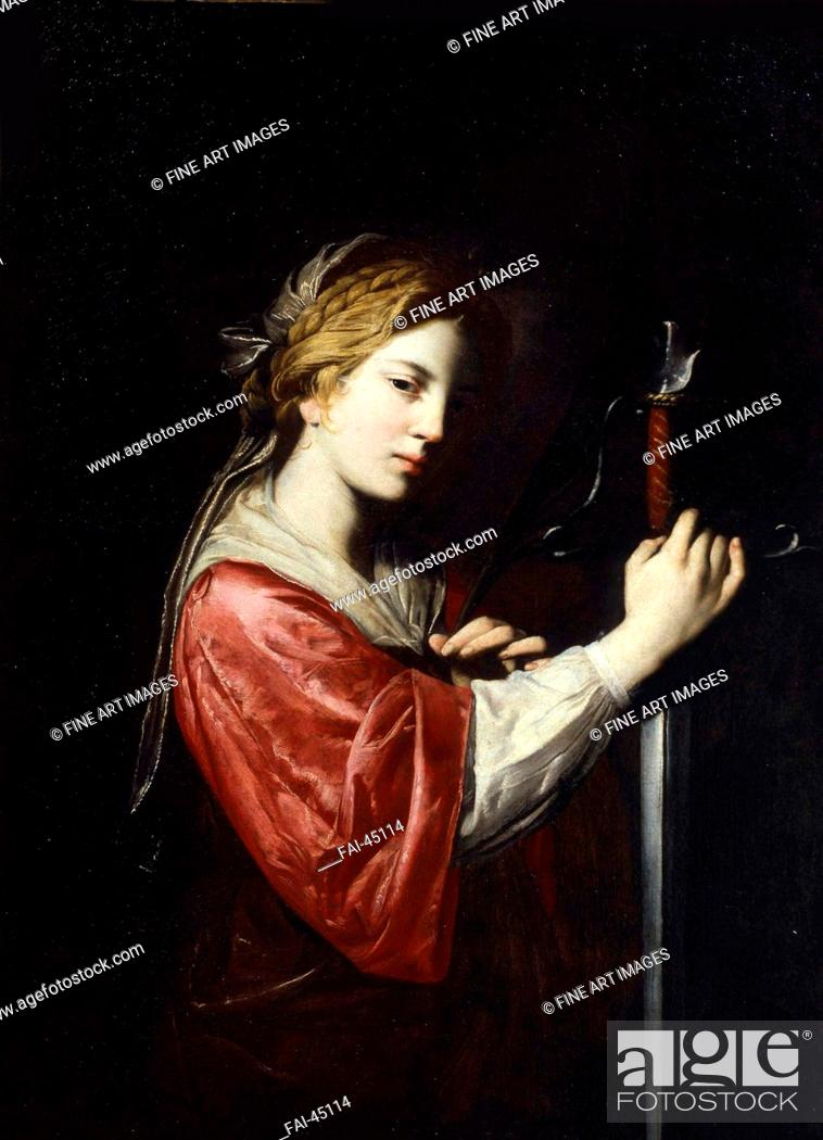 Stock Photo: Saint Catherine of Alexandria by Ricca, Giovanni (1603-c. 1656)/Oil on canvas/Baroque/c. 1635/Italy, School of Neaple/Palazzo Madama.