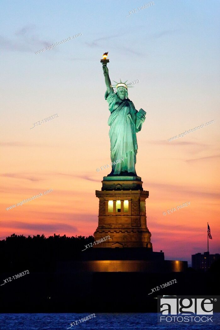 Stock Photo: The Statue of Liberty in Liberty Island in New York Harbor.
