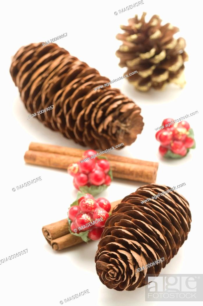 Stock Photo: Pine Cones and cinnamon canes.