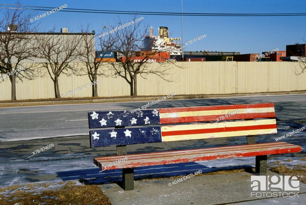 Stock Photo: USA  Boston  Bench painted with the stars and stripes, South Boston.