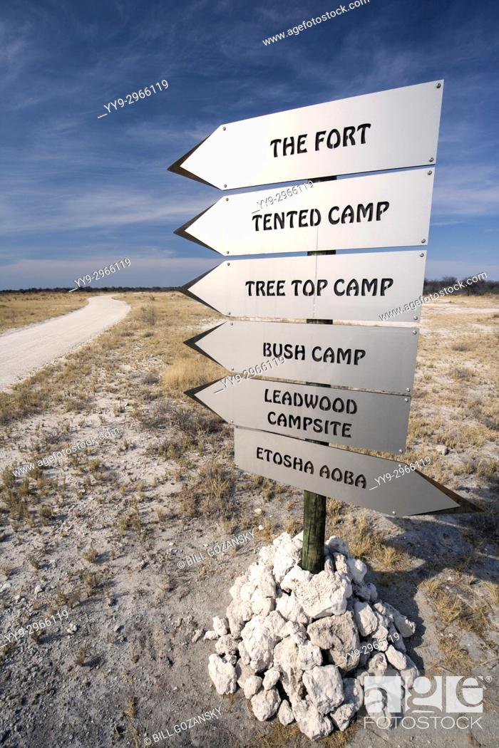 Stock Photo: Directional Signs for lodges at Onguma Game Reserve, Namibia, Africa.