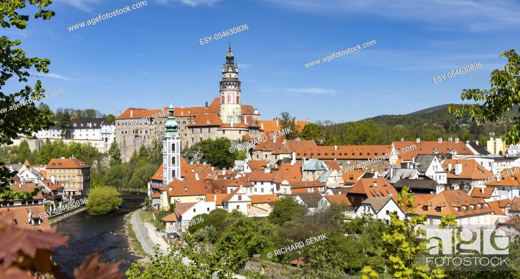 Stock Photo: View of the town and castle of Czech Krumlov, Southern Bohemia, Czech Republic.