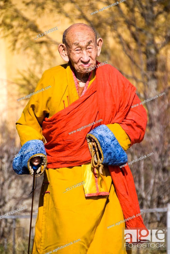 Stock Photo: Buddhist monk at the Gandantegchinlen Khiid monastery, Ulaan Bataar, Mongolia.