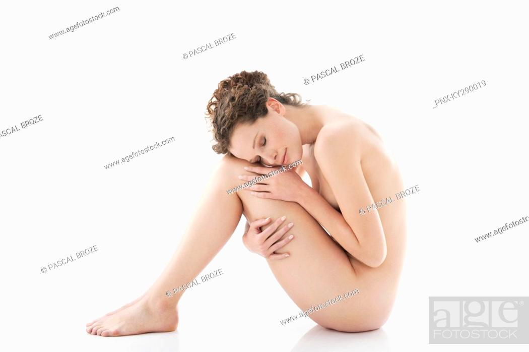 Stock Photo: Side profile of a naked woman.