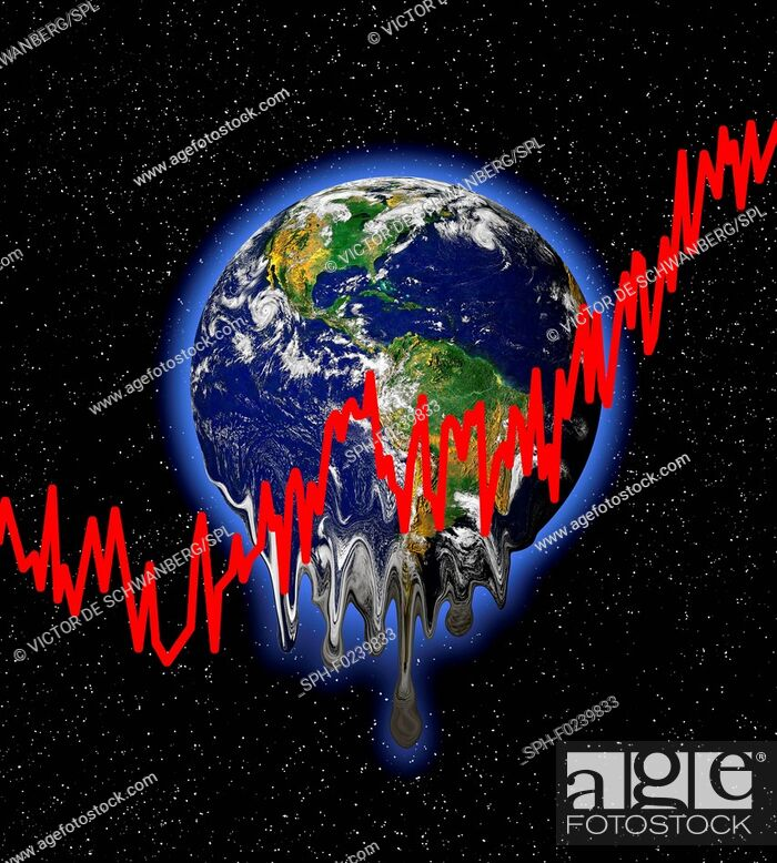 Imagen: Planet earth with red graph lines, illustration.