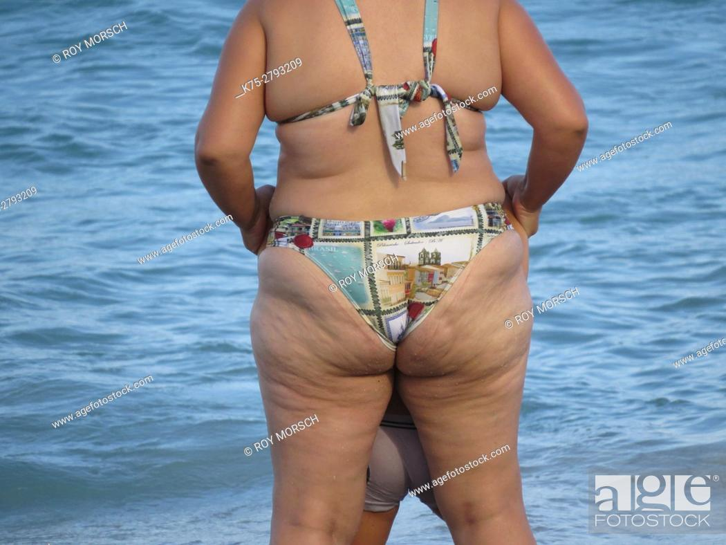 Stock Photo: Cellulite in bathing suit.