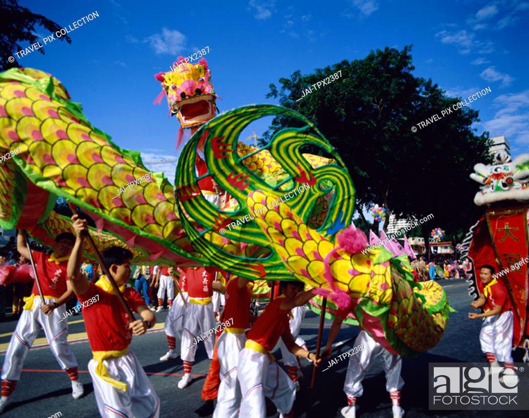 Chinese New Year Chingay Parade Dragon Dance Singapore Foto De