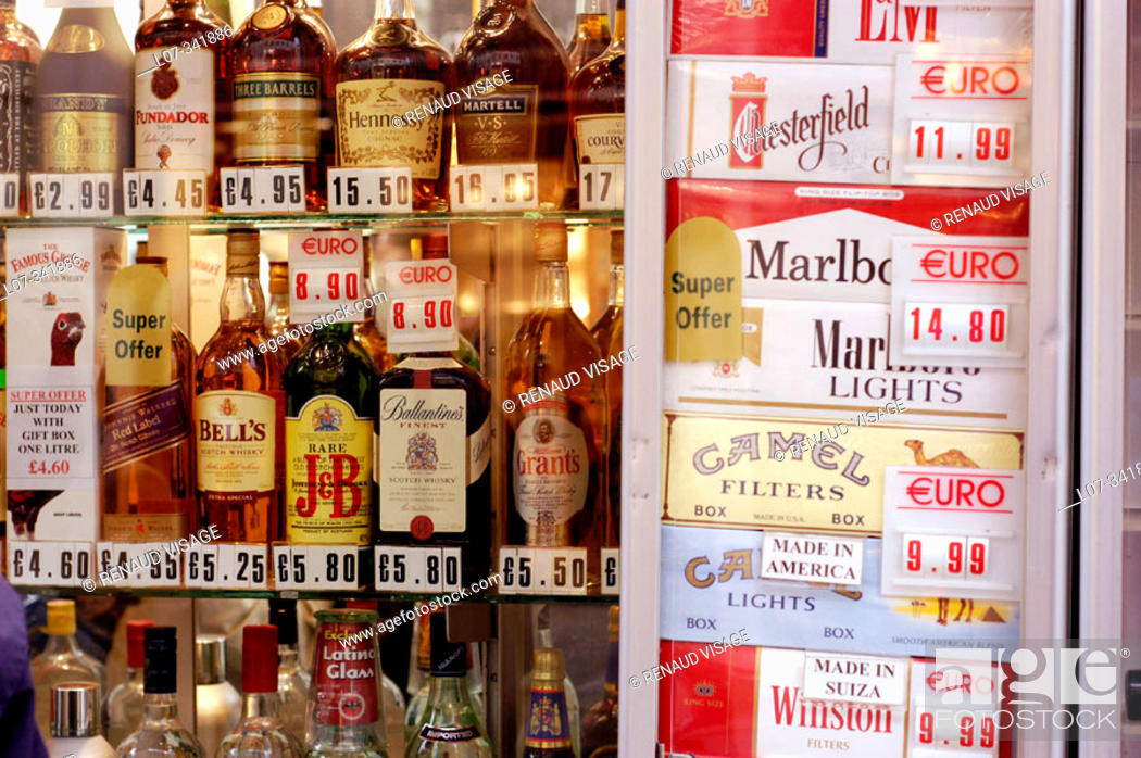 Stock Photo: Display of tobacco and alcohol products in a duty-free store. Gibraltar. United Kingdom.
