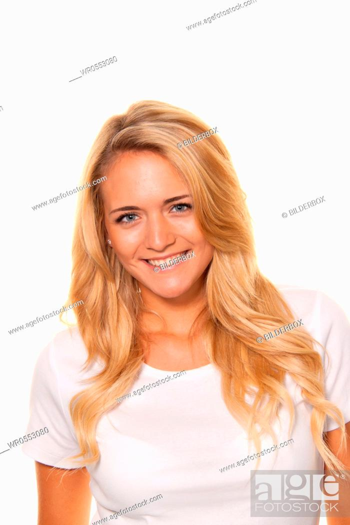 Stock Photo: Young nice woman.Cheerful smile.Portrait on a white background.