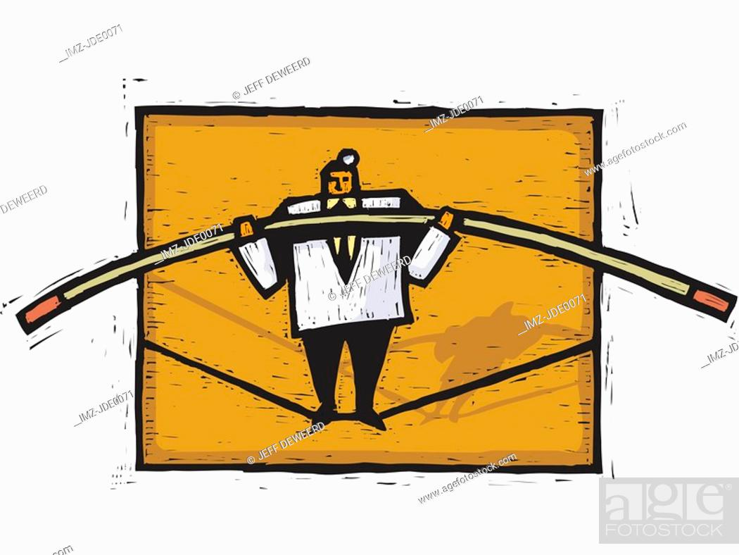 Stock Photo: A doctor walking on a tight rope.