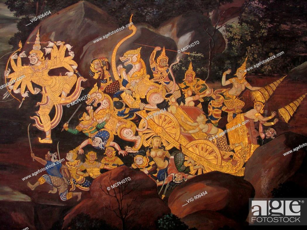 Stock Photo: Asien, Thailand, Bangkok, Buddhistischer Tempel, Wat Phra Kaeo, Wandmalerei, Ramakien - Bangkok, Thailand, 13/09/2005.