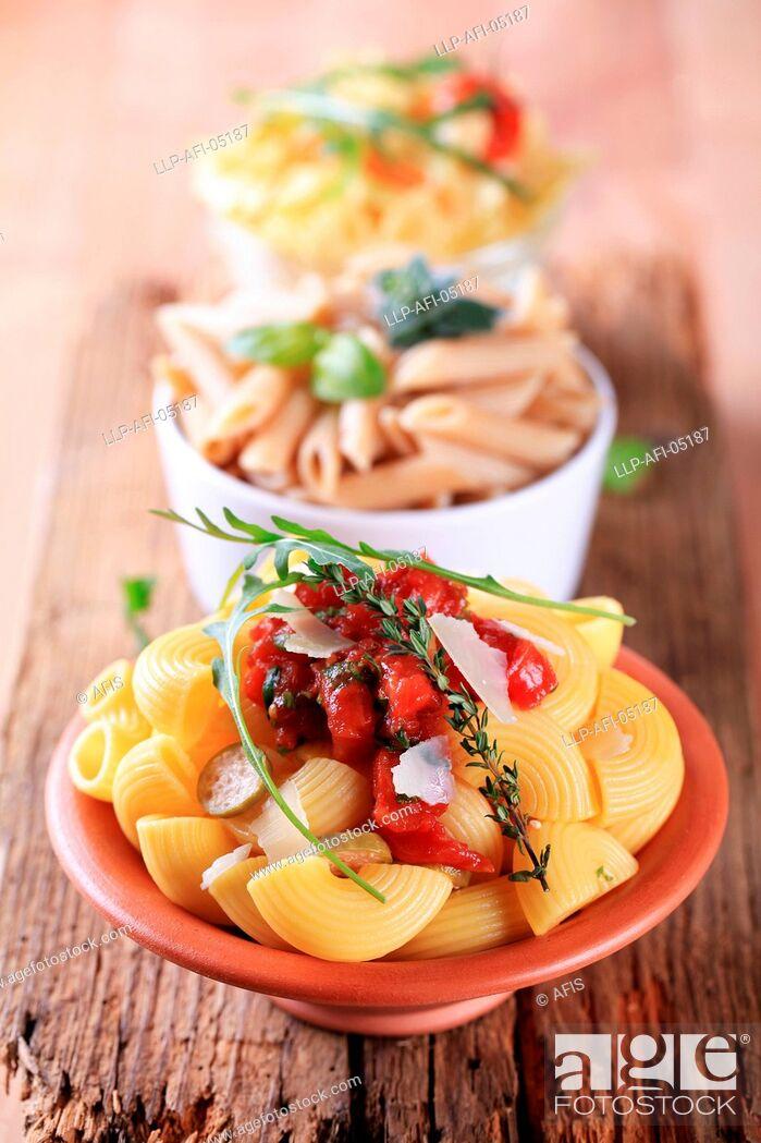Stock Photo: Pasta salads.