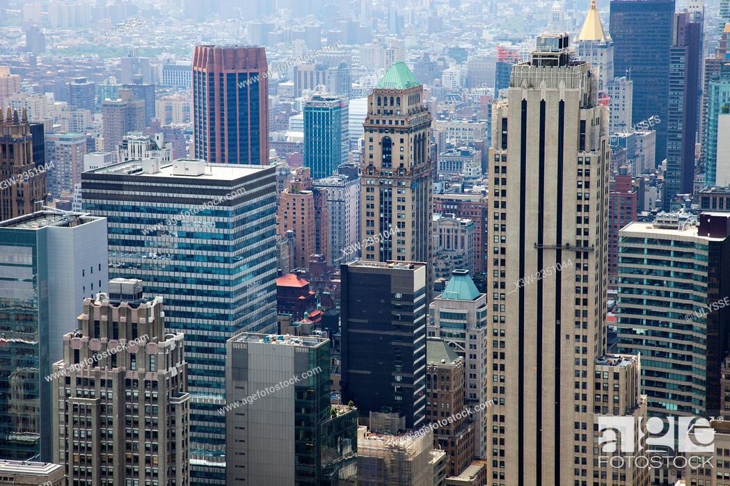Stock Photo: cityscape, view from rockefeller center, top on the rock, skyscrapers, Manhattan, New York, Usa, America.