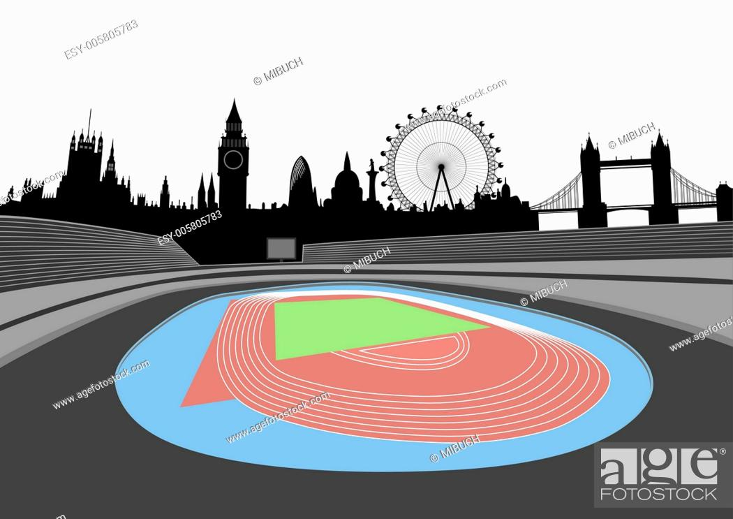 Stock Vector: stadium with London skyline - vector.
