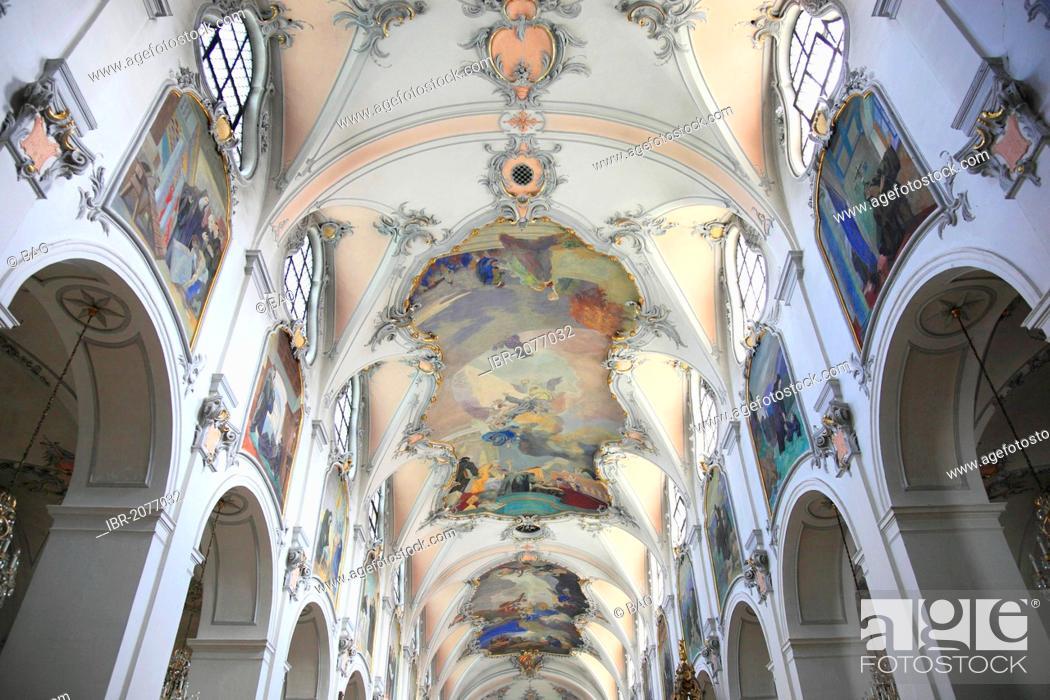 Stock Photo: Interior view of the monastery church, Kloster Scheyern monastery, Abbey of the Bavarian Benedictine Congregation, Scheyern, Pfaffenhofen district, Bavaria.