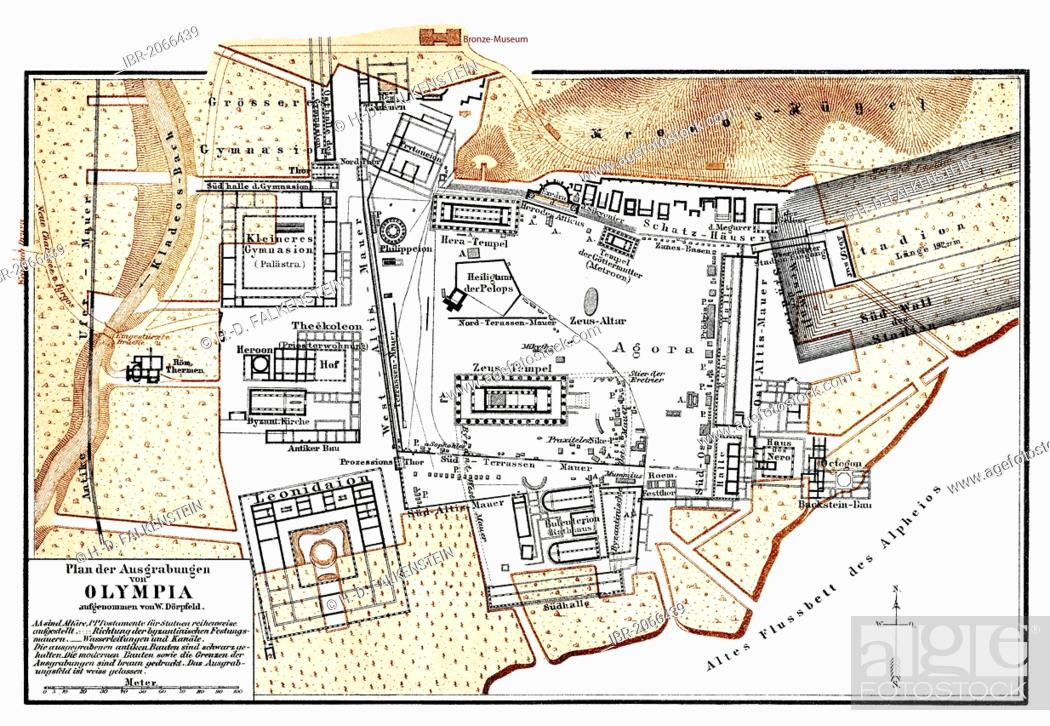 Historic Map Of The Excavations At Olympia Greece 19th Century