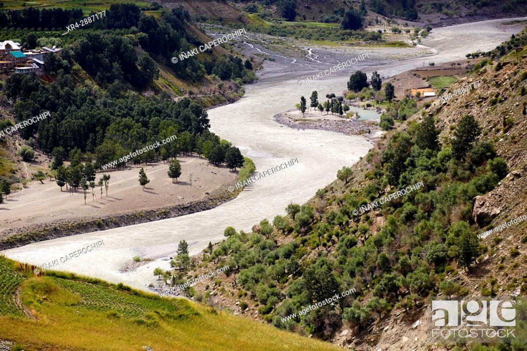 Stock Photo: Bhaga River, Gushal, Lahaul Valley, Himachal Pradesh, India.