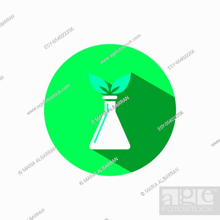 Stock Vector: Conical flask icon with two leaves and shadow on a green circle. Flat color vector pharmacy illustration.