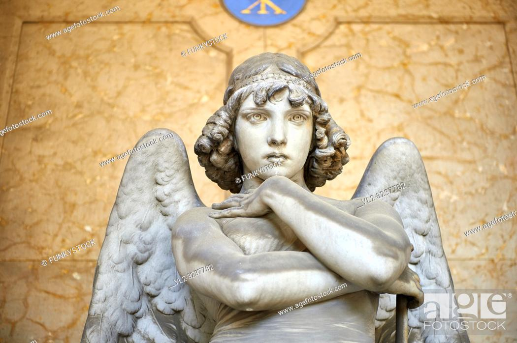 Stock Photo: Picture and image of the stone sculpture of an enigmatic angels face in a realistic style. One of the best know csulptures of Staglieno.