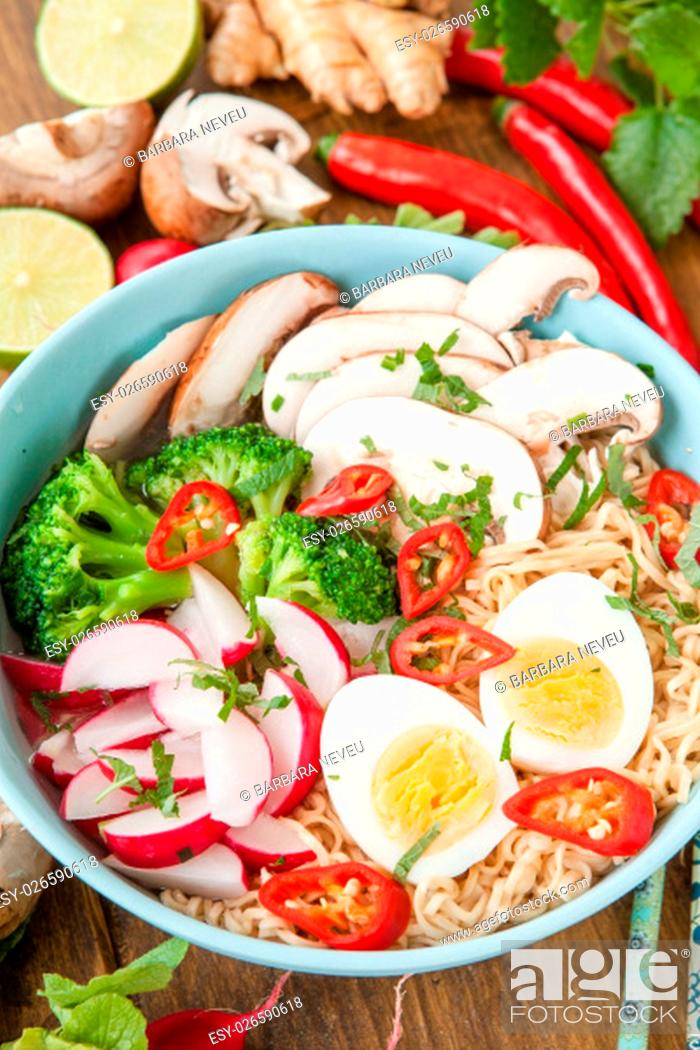 Stock Photo: asian noodle soup with fresh vegetables and boiled egg.