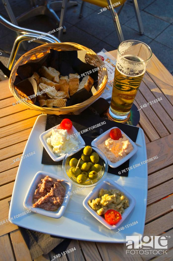 Stock Photo: Beer and Tapas Budapest Hungary Europe.