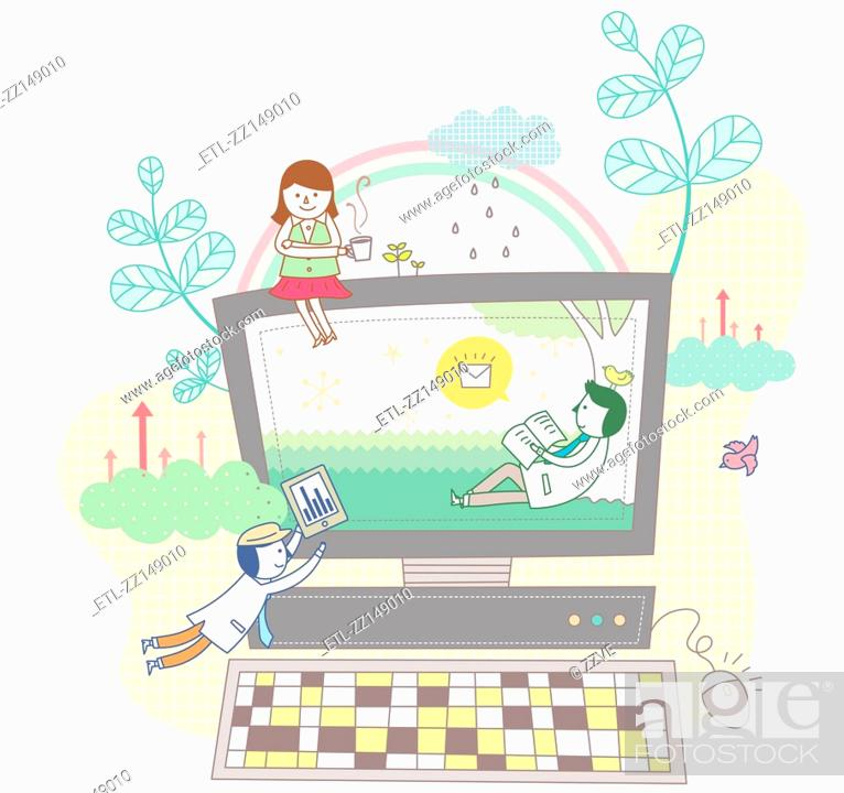 Stock Photo: Electronic devices and children.