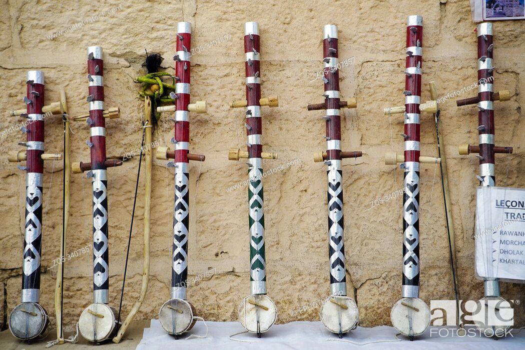 Stock Photo: Traditional musical instruments for sale at Gadisar Lake, Bikaner, Rajasthan, India.