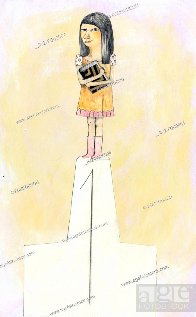Stock Photo: A young girl standing on the top of a podium.