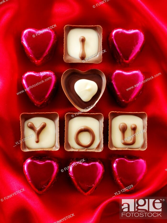 Stock Photo: ' I love you ' chocolates.