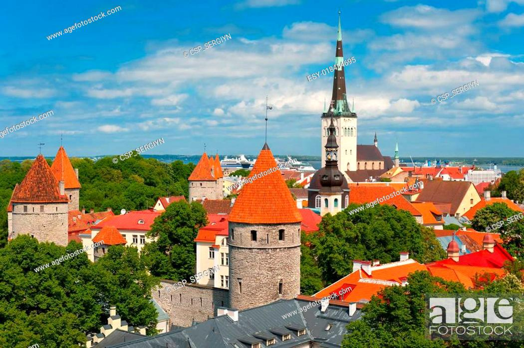 Stock Photo: Old City of Tallin in summer.