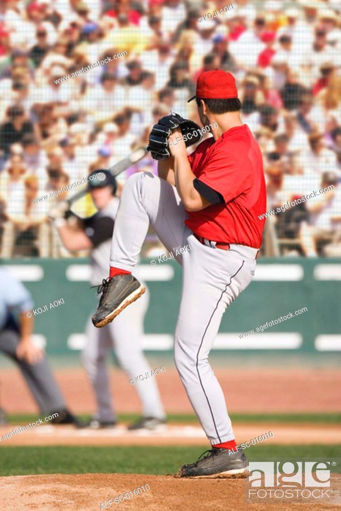 Stock Photo: Pitcher winding up.
