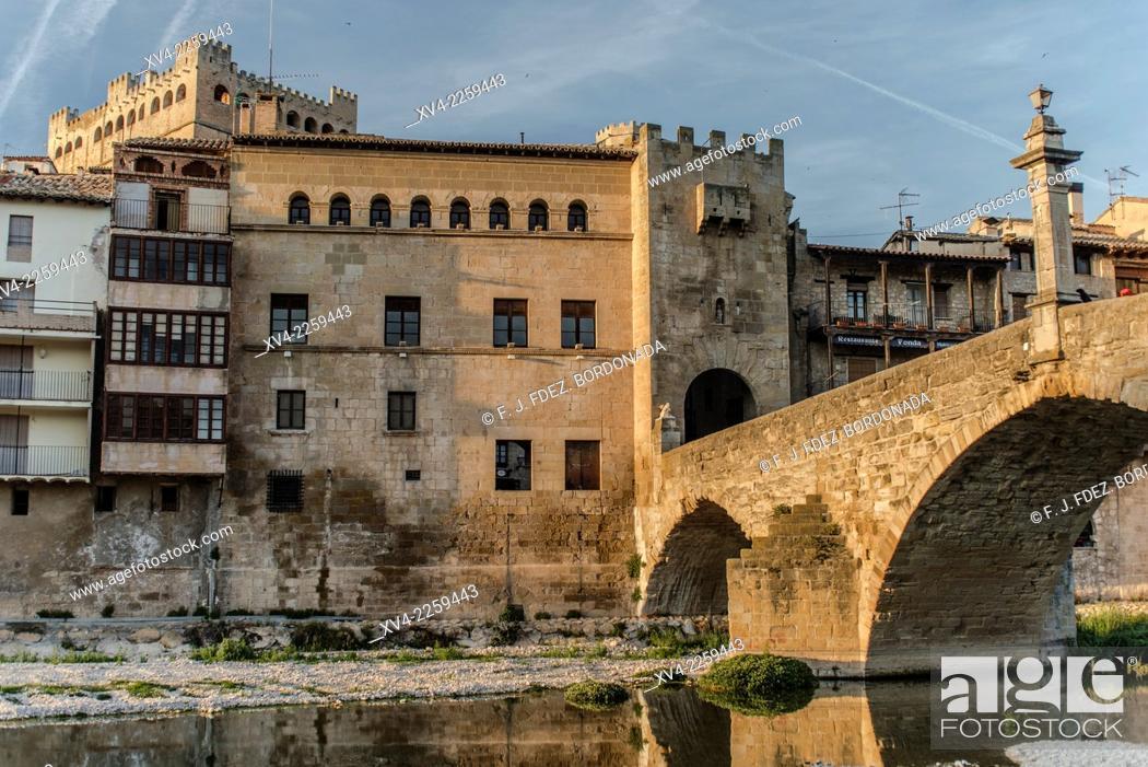 Stock Photo: Street and traditional architecture of Valderrobres historic mediaeval village. Matarranya, Teruel, Aragón, Spain.