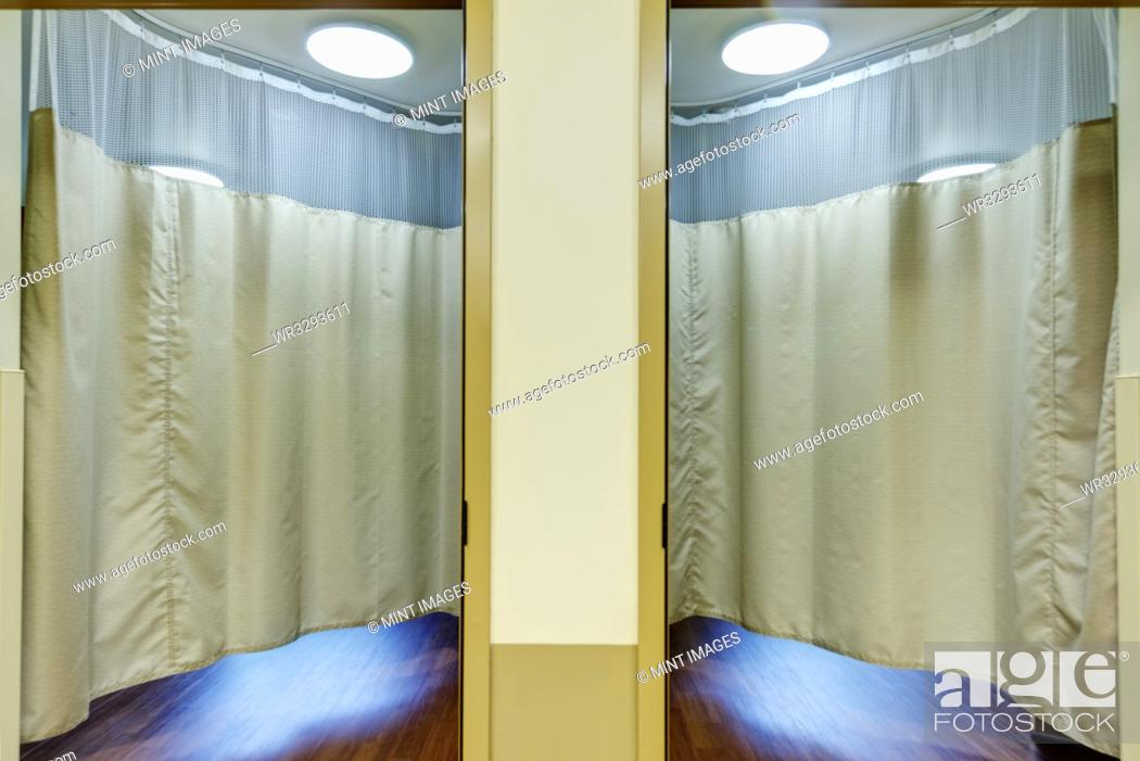 Stock Photo: Curtains in patient rooms in assisted living facility.