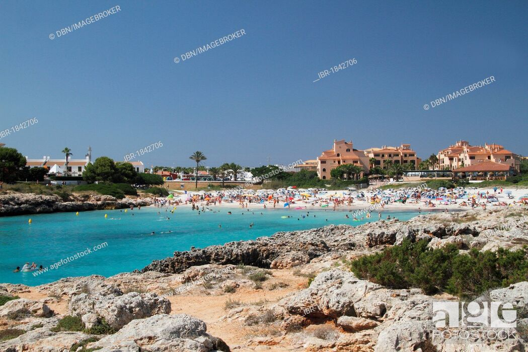 Stock Photo: Beach at Cala en Bosc, Menorca, Minorca, Spain, Europe.