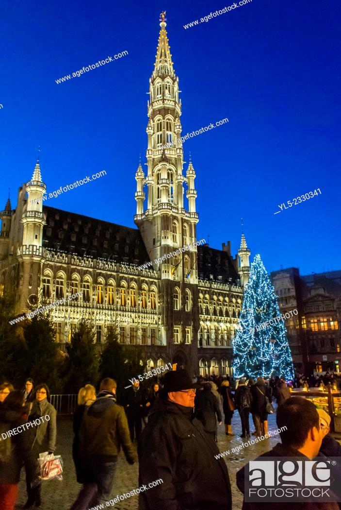 Stock Photo: Brussels, Belgium, Outside, Street Scene, Christmas Tree Decorations in City Center, The Grand Place.