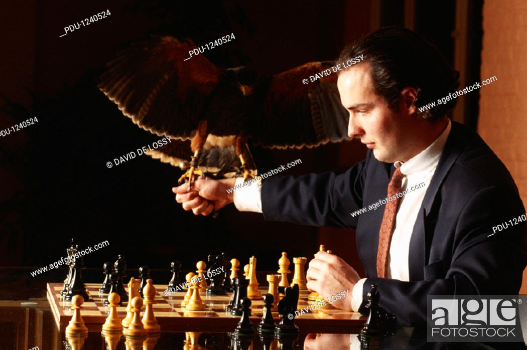 Stock Photo: Business man holding falloon chess board.
