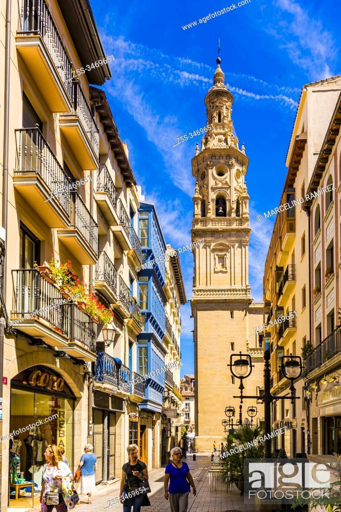 Stock Photo: Marques de Vallejo Street with Cathedral of Santa Maria de La Redonda in the background. Logrono - Logroño, La Rioja, Spain, Europe.