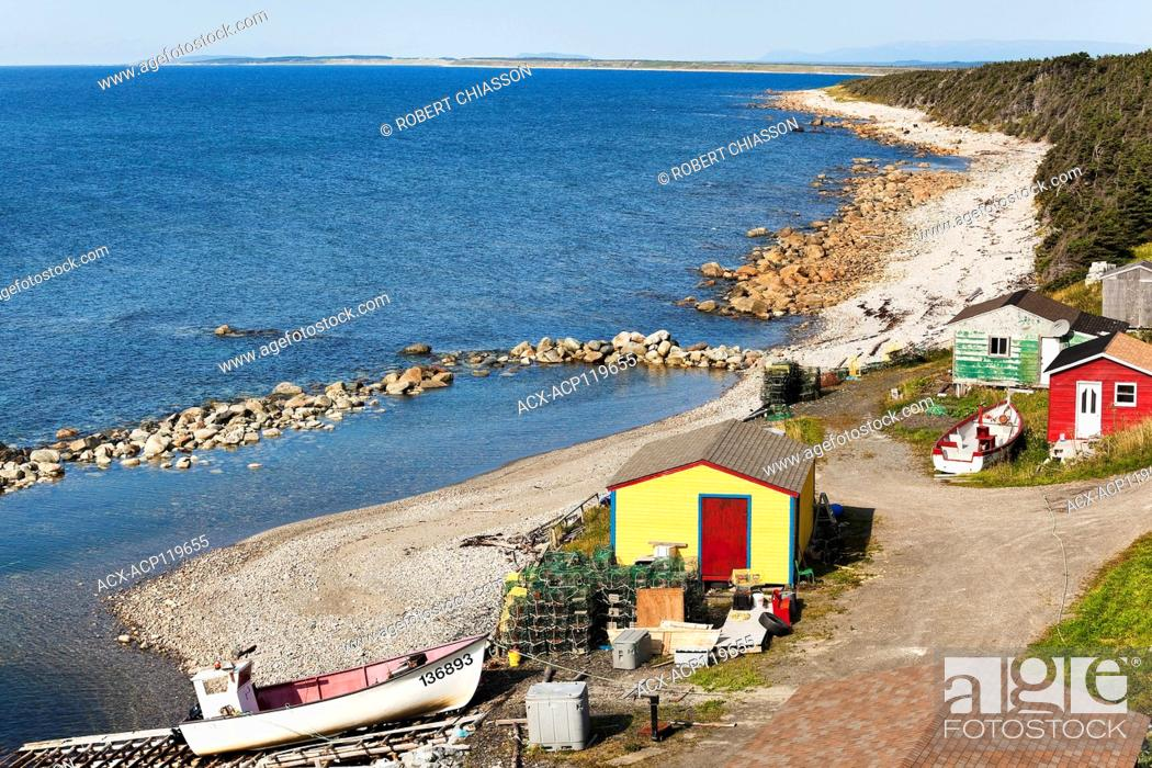 Stock Photo: Artisanal fishing installation including a slipway, sheds, cabins and fishing gear and boat at Martin's Point, Western Newfoundland, Canada.