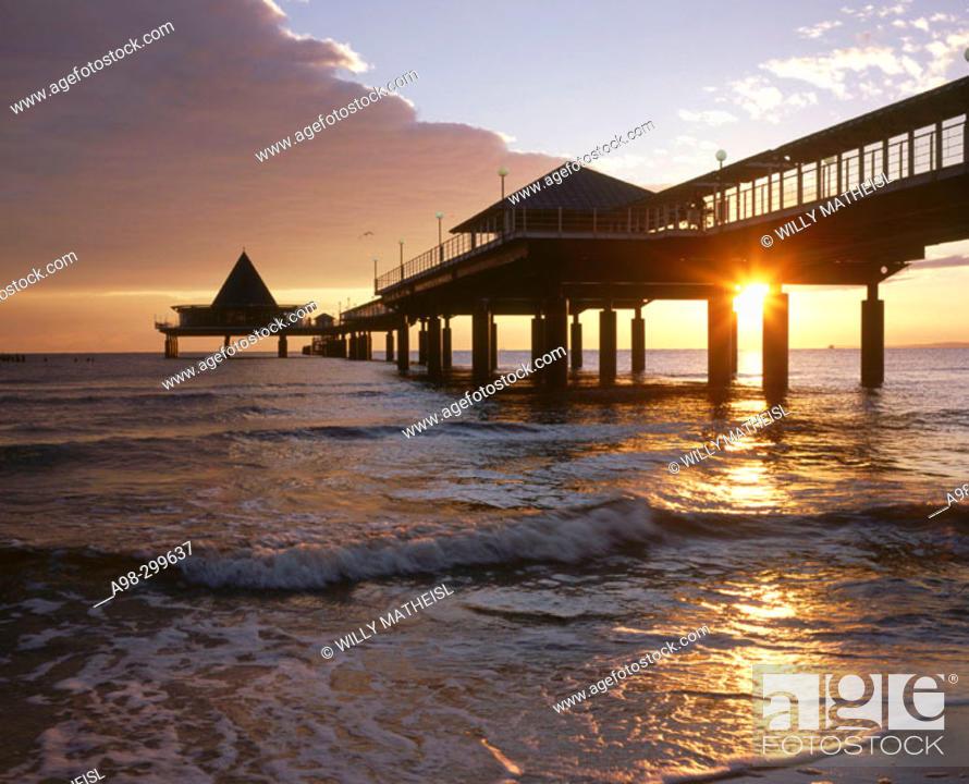 Stock Photo: Sea bridge. Heringsdorf. Usedom island. Mecklenburg-Western Pomerania. Germany.