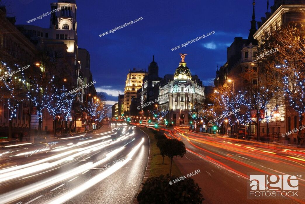 Stock Photo: Alcalá street at Christmas, night view. Madrid, Spain.