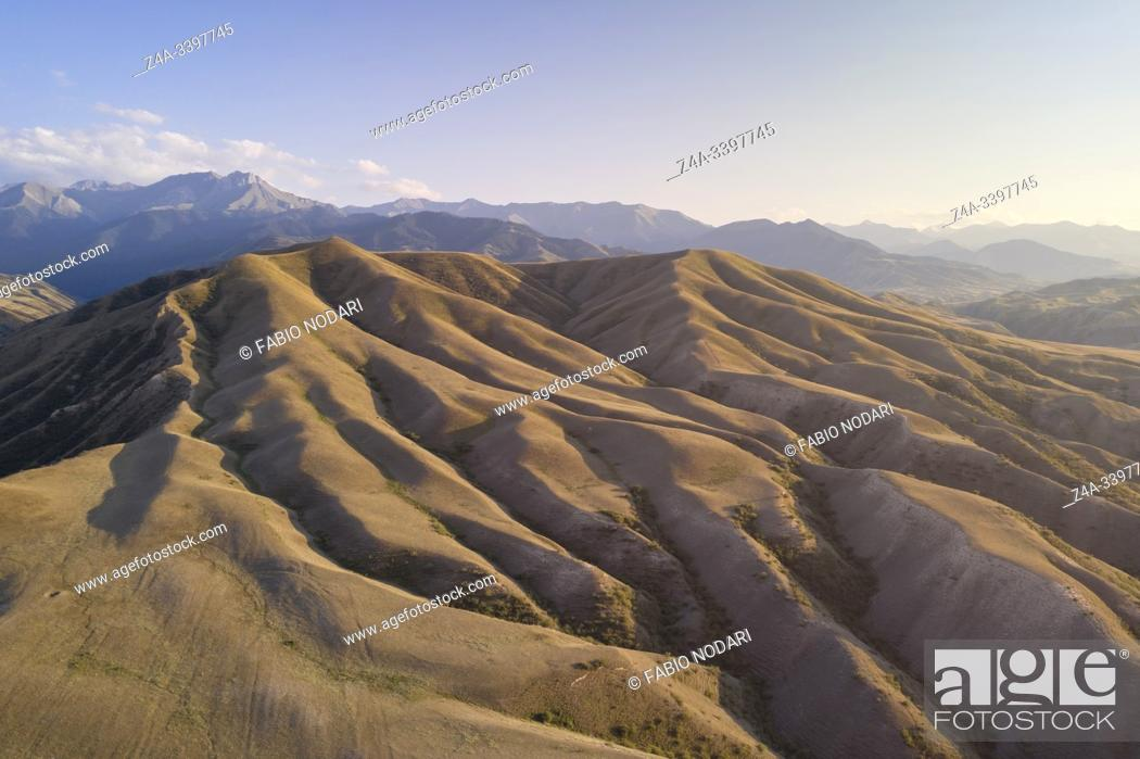 Stock Photo: Aerial view of the mountains near Saty village in Kazakhstan.